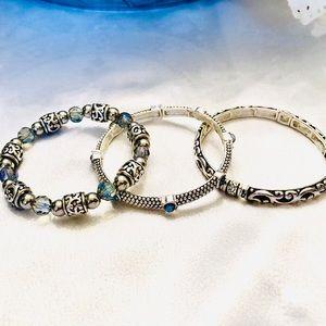 Three Silvertone Stretch Bracelets From LOFT